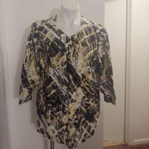 Cj banks black yellow&white 3/4 sleeve cardigan